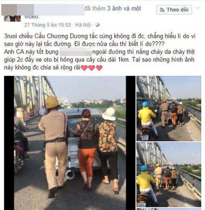 CSGT doi nang giup dan day o to chet may gay an tuong hinh anh 1