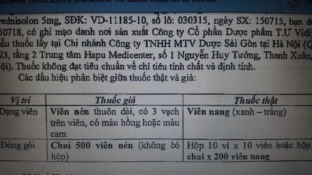 Thu hoi thuoc Prednisolon 5mg gia, dinh chi luu hanh Cam Xuyen Huong hinh anh 1