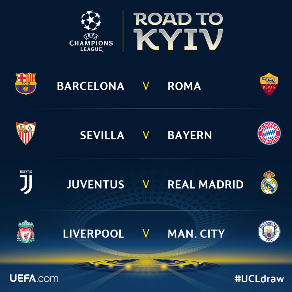 Ket qua boc tham tu ket cup C1: Dai chien Real vs Juventus, Liverpool vs Manchester City hinh anh 1