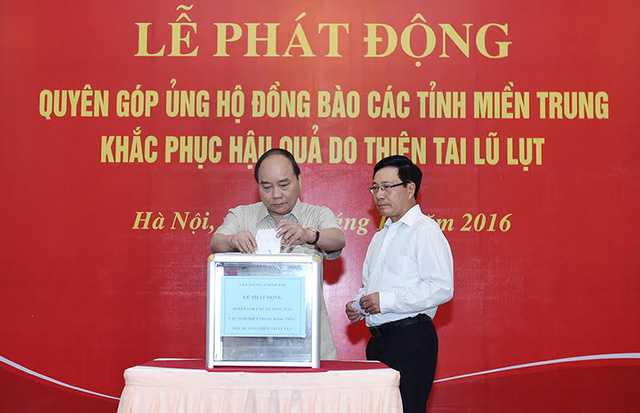 Van phong Chinh phu quyen gop ung ho dong bao mien Trung hinh anh 1