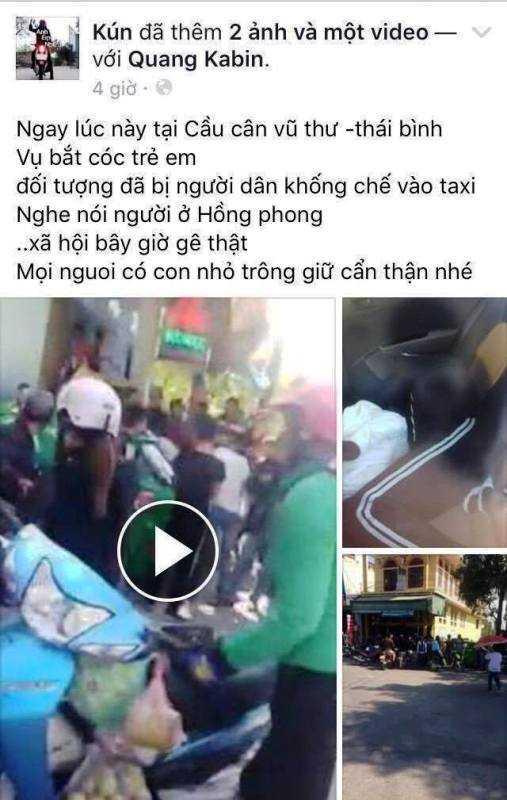 Thong tin bat coc tre em o Thai Binh tren facebook la bia dat hinh anh 1