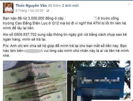 Nhat duoc tien o cay ATM, dang facebook tra lai chu nhan hinh anh 1