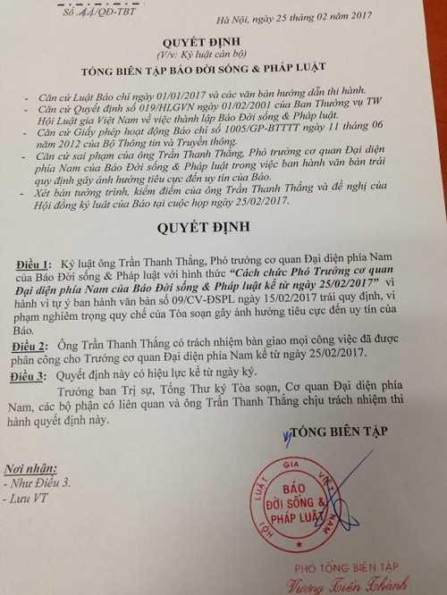 Cach chuc, de nghi thu the nha bao nguoi gui cong van cho ong Doan Ngoc Hai hinh anh 1