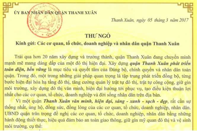 Chu tich quạn o Ha Noi viet thu keu goi khong chiem via he, long duong hinh anh 1