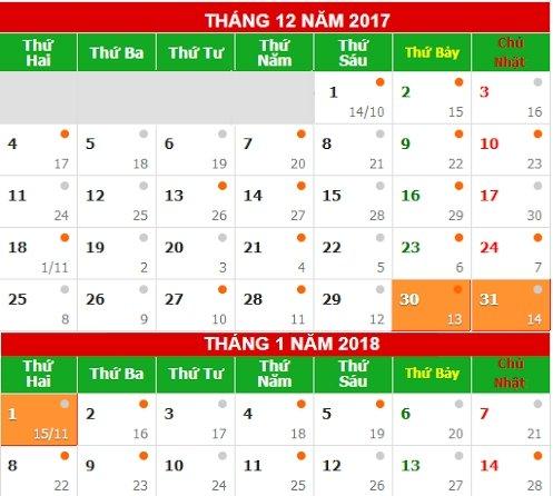 Tet Duong lich 2018, nguoi lao dong duoc nghi 3 ngay hinh anh 1