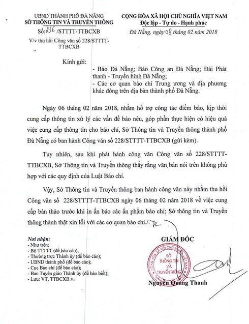 So Thong tin - Truyen thong Da Nang xin loi sau yeu cau kiem duyet bao chi hinh anh 1