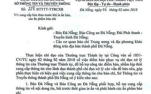 So Thong tin - Truyen thong Da Nang xin loi sau yeu cau kiem duyet bao chi hinh anh 2