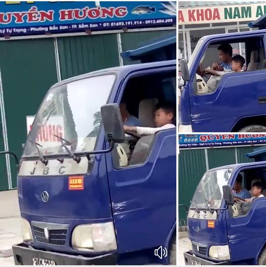 Be trai 10 tuoi o Thanh Hoa lai xe tai bang bang tren pho hinh anh 1