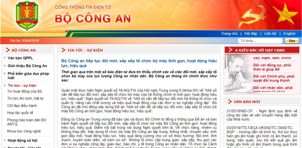 Tai cau truc bo may Bo Cong an: Thong tin chinh thuc hinh anh 1
