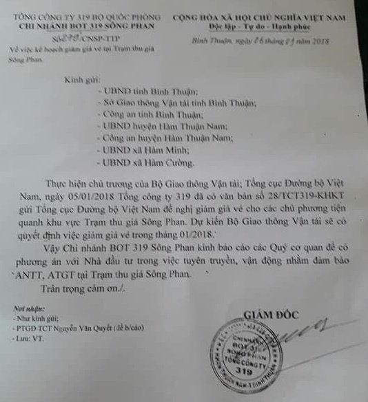 BOT Song Phan chu dong xin giam gia ve trong thang 1/2018 hinh anh 1