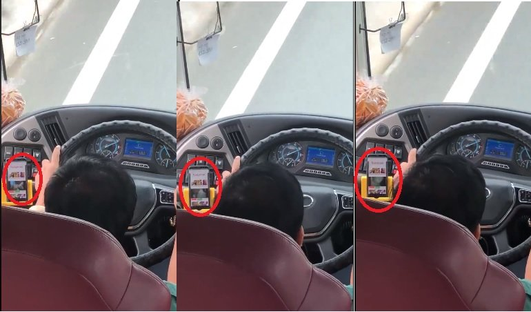Nghi van tai xe xe khach Phuong Trang vua lai xe vua coi phim nguoi lon hinh anh 1