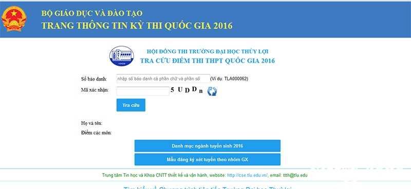 Tra cuu diem thi THPT quoc gia 2016: Dai hoc Thuy Loi da cong bo diem hinh anh 1