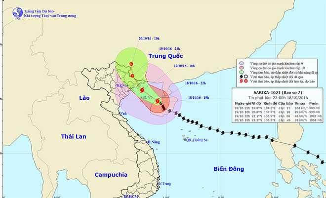 Cap nhat sieu bao so 7 Sarika: Tien sat Quang Ninh - Hai Phong, gio giat cap 13 hinh anh 1