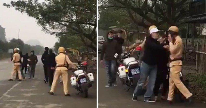 Truy duoi 'quai xe' lang lach, CSGT Ninh Binh bi vu va danh nguoi: Cong an tang qua nguoi quay clip hinh anh 1