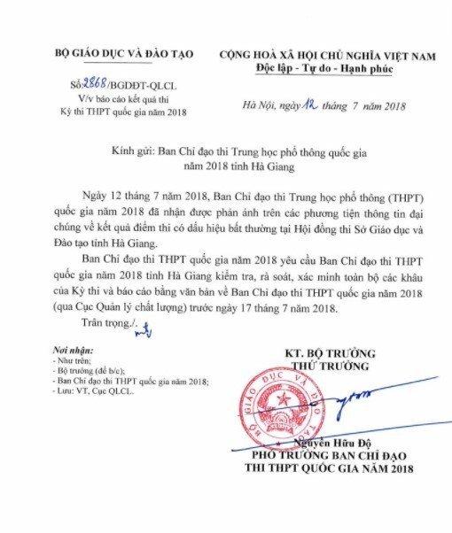 Diem thi THPT Quoc gia 2018 bat thuong tai Ha Giang: Bo GD-DT yeu cau kiem tra hinh anh 1