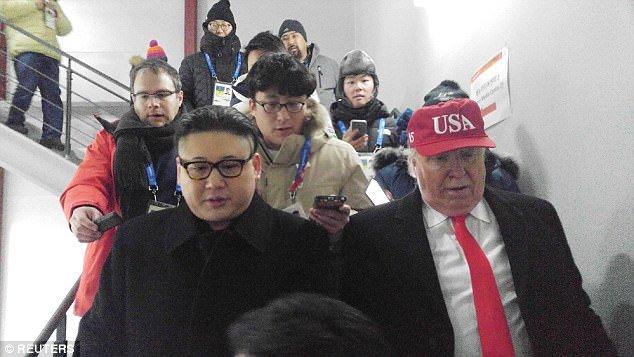 Video: Ban sao ong Trump, ong Kim Jong-un xuat hien ben le The van hoi mua dong 2018 hinh anh 4