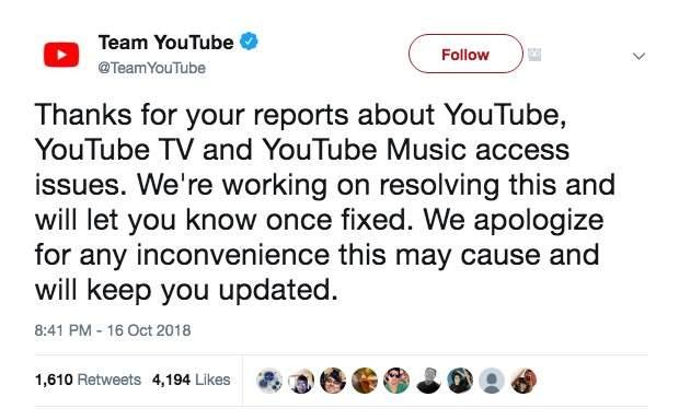 YouTube thua nhan dang gap van de ket noi toan cau hinh anh 2