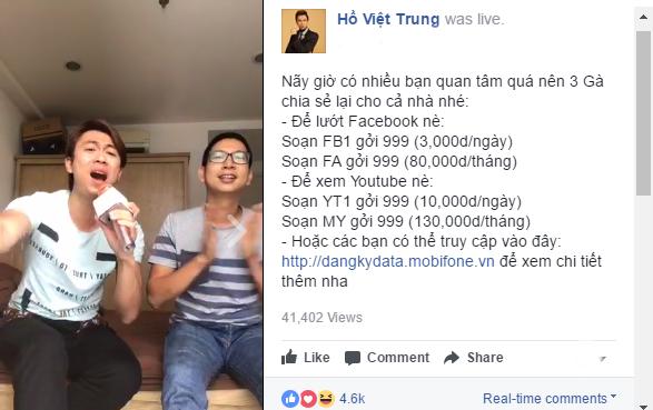 Ho Viet Trung 'chuong' livestream bang goi Facebook data gia re cua MobiFone hinh anh 2