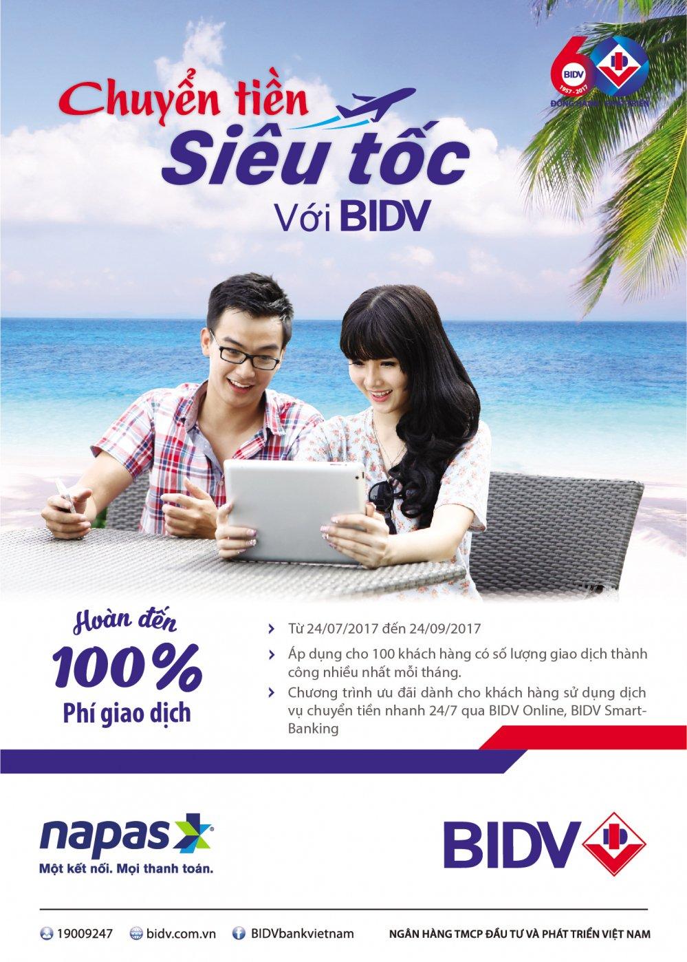 Chuyen tien sieu toc cung BIDV e-Banking – Hoan toi 100% phi giao dich hinh anh 1
