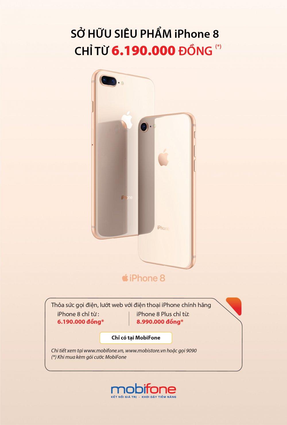 Bo doi iPhone 8/ iPhone 8 Plus voi gia tu 6.190.000 dong hap dan nguoi mua tai MobiFone hinh anh 1