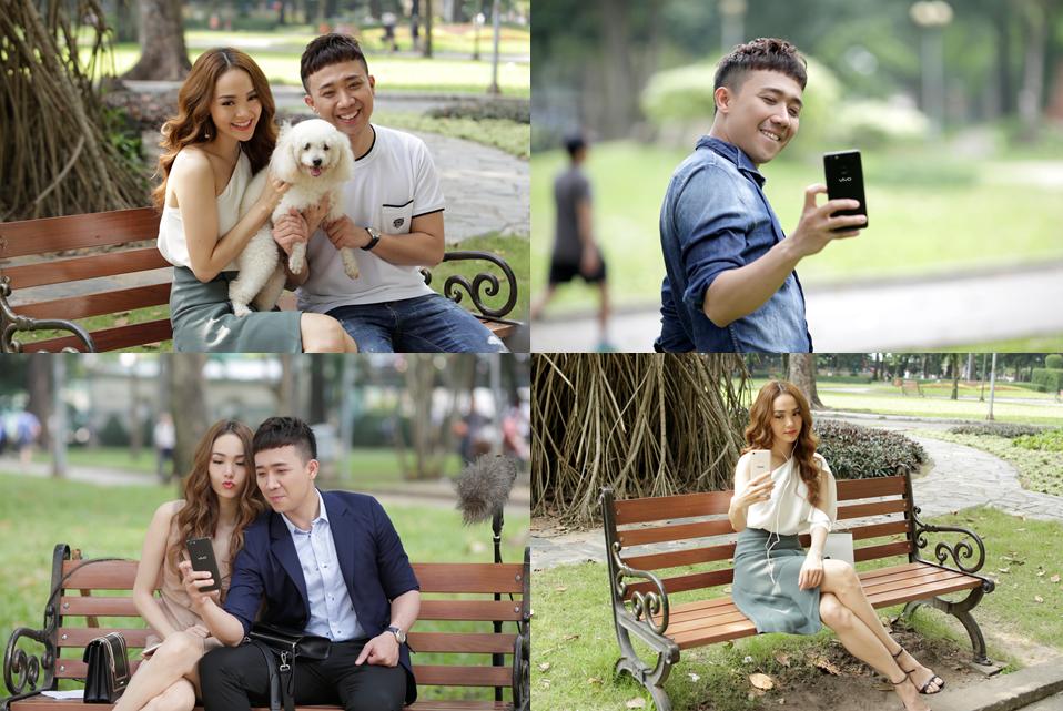 Minh Hang, Tran Thanh khong ngung sang tac anh selfie trong hau truong 'Yeu la quay lung' hinh anh 1