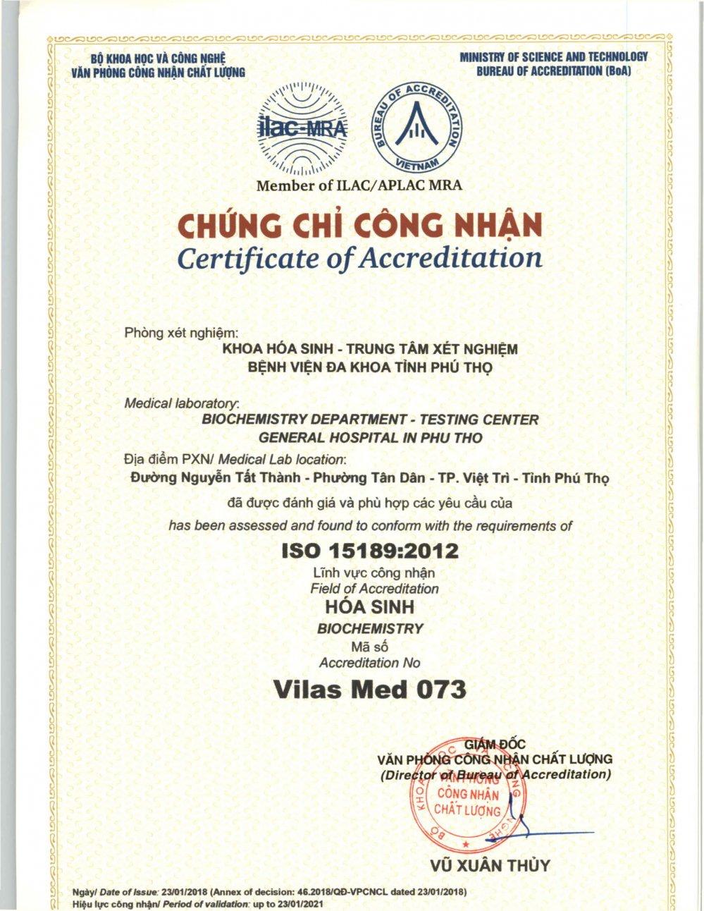 Trung tam xet nghiem - Benh vien da khoa tinh Phu Tho don nhan chung chi ISO 15189:2012 hinh anh 1