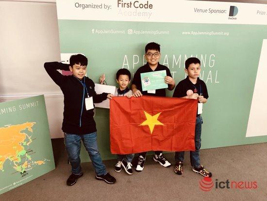 Hoc sinh tieu hoc Viet Nam gianh giai 'Ung dung sang tao nhat' cuoc thi lap trinh di dong AppJamming Summit 2018 hinh anh 1