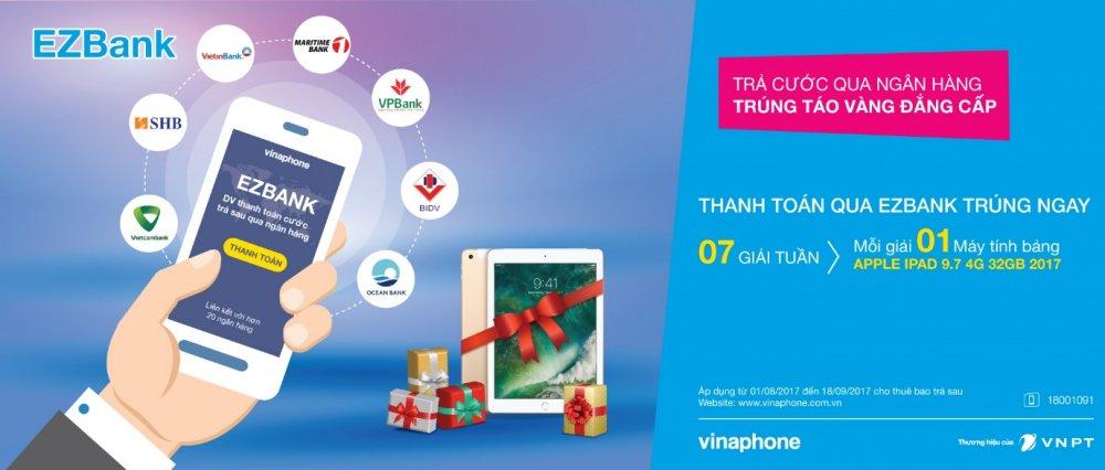Vinaphone tang Ipad cho thue bao thanh toan cuoc tra sau qua EzBank hinh anh 1