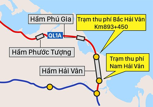 Bo Giao thong de xuat ghep 2 tram thu phi o khu vuc ham Hai Van hinh anh 1