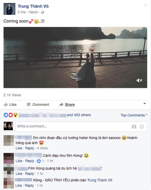 MC Thanh Trung 'khoa moi' vo 9X sap cuoi o noi quay 'Kong: Skull Island' hinh anh 1