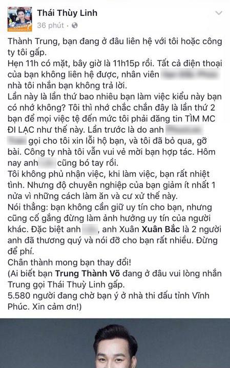 Bi 'to' vo trach nhiem khien gan 6000 nguoi cho doi, MC Thanh Trung phan phao hinh anh 1