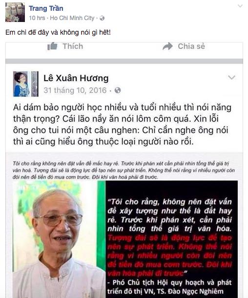 Trang Tran tiep tuc gay soc, tuyen bo nghe si Xuan Huong khong du tu cach mang co 'vo van hoa'? hinh anh 2