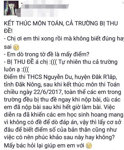 Thi THPT quoc gia o Dak Nong: Thi sinh, phu huynh buc xuc vi bi thu lai de thi hinh anh 2