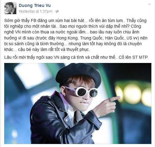 Son Tung M-TP dao nhai: Tung Duong len an, Duong Trieu Vu khen ngoi thien tai hinh anh 5