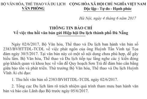 Dieu ky la trong nhung van ban thu hoi cua Bo VH-TT&DL hinh anh 1