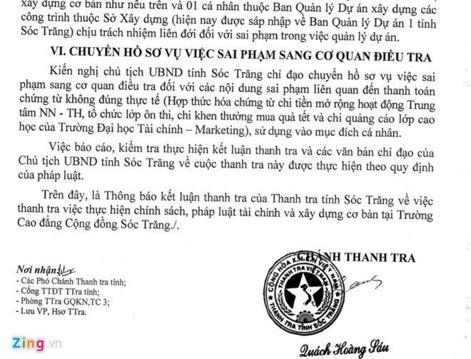Hang loat sai pham tai chinh tai Cao dang Cong dong Soc Trang hinh anh 2