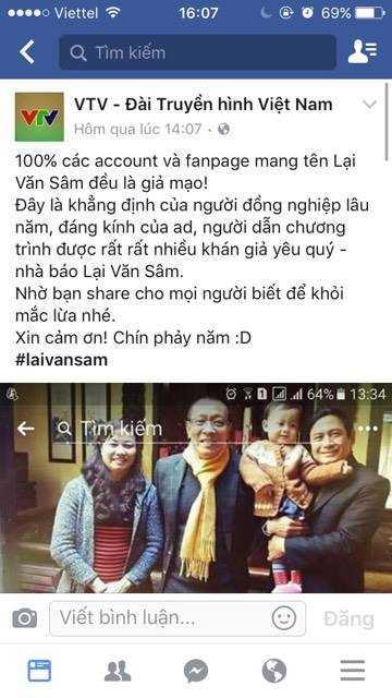 Tai khoan facebook Lai Van Sam duoc chia se chong mat, VTV len tieng hinh anh 2
