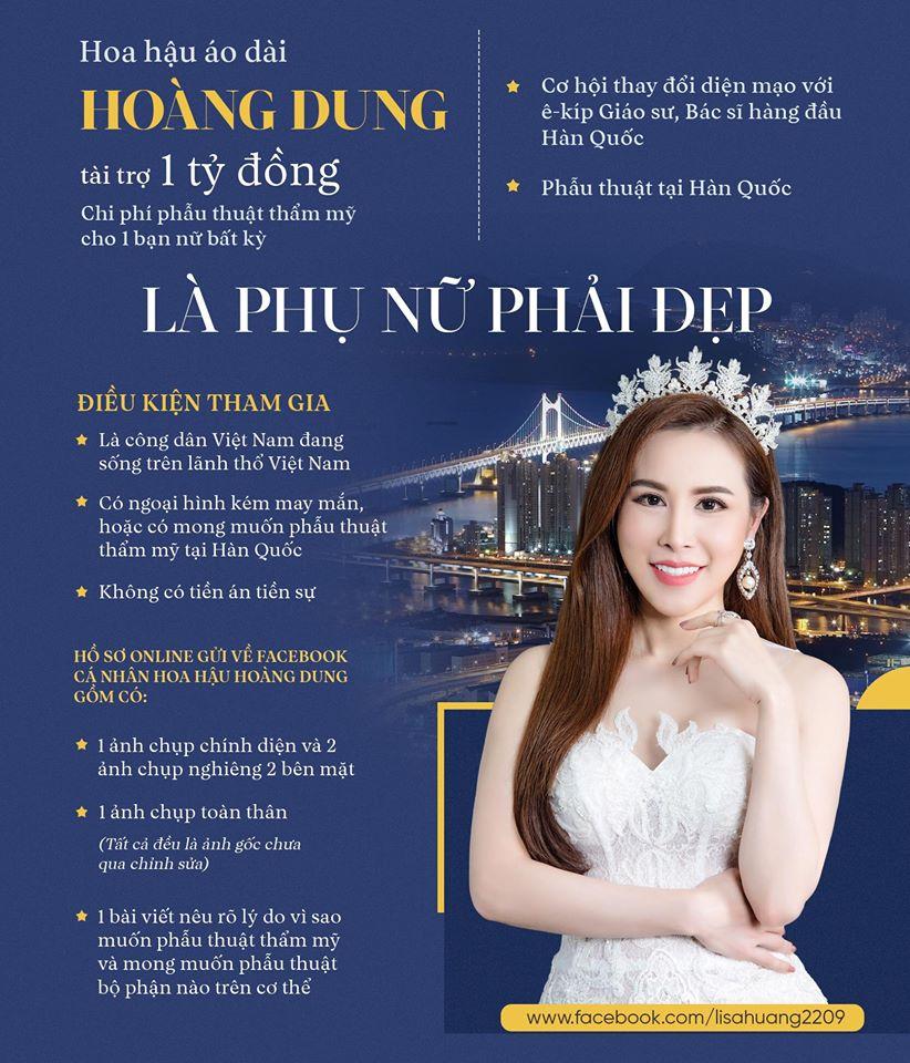 Hoa hau Hoang Dung chi 1 ty dong, giup fan co guong mat xau xi phau thuat tham my hinh anh 2