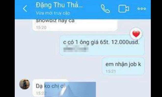Hoa hau Dang Thu Thao bi lo tin nhan moi 'di khach' gia 12.000 USD hinh anh 1