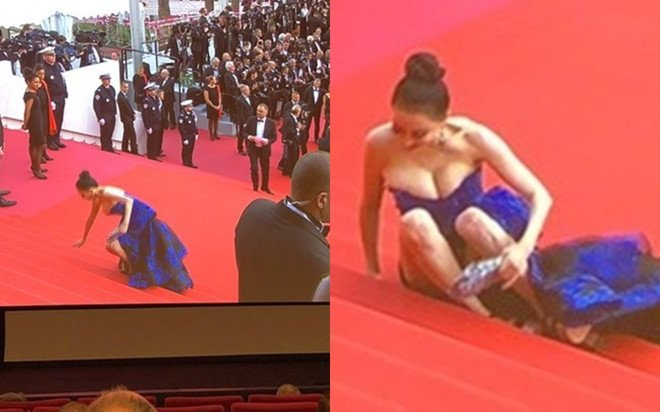 Hoa hau 'vo ech' tren tham do Cannes bi khan gia keu goi tay chay hinh anh 1