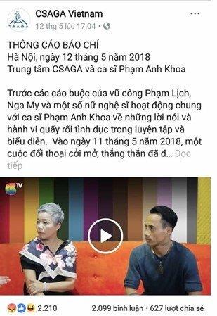 CSAGA xin loi sau cuoc tro chuyen gay tranh cai voi Pham Anh Khoa hinh anh 1