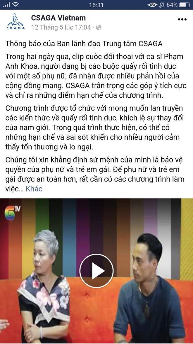 CSAGA xin loi sau cuoc tro chuyen gay tranh cai voi Pham Anh Khoa hinh anh 2