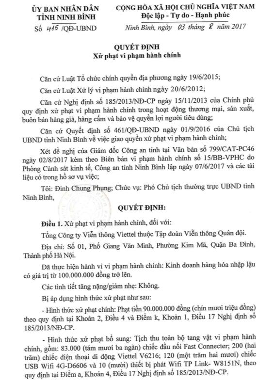 Tong Cong ty Vien thong Viettel len tieng khi bi xu phat 90 trieu dong hinh anh 2