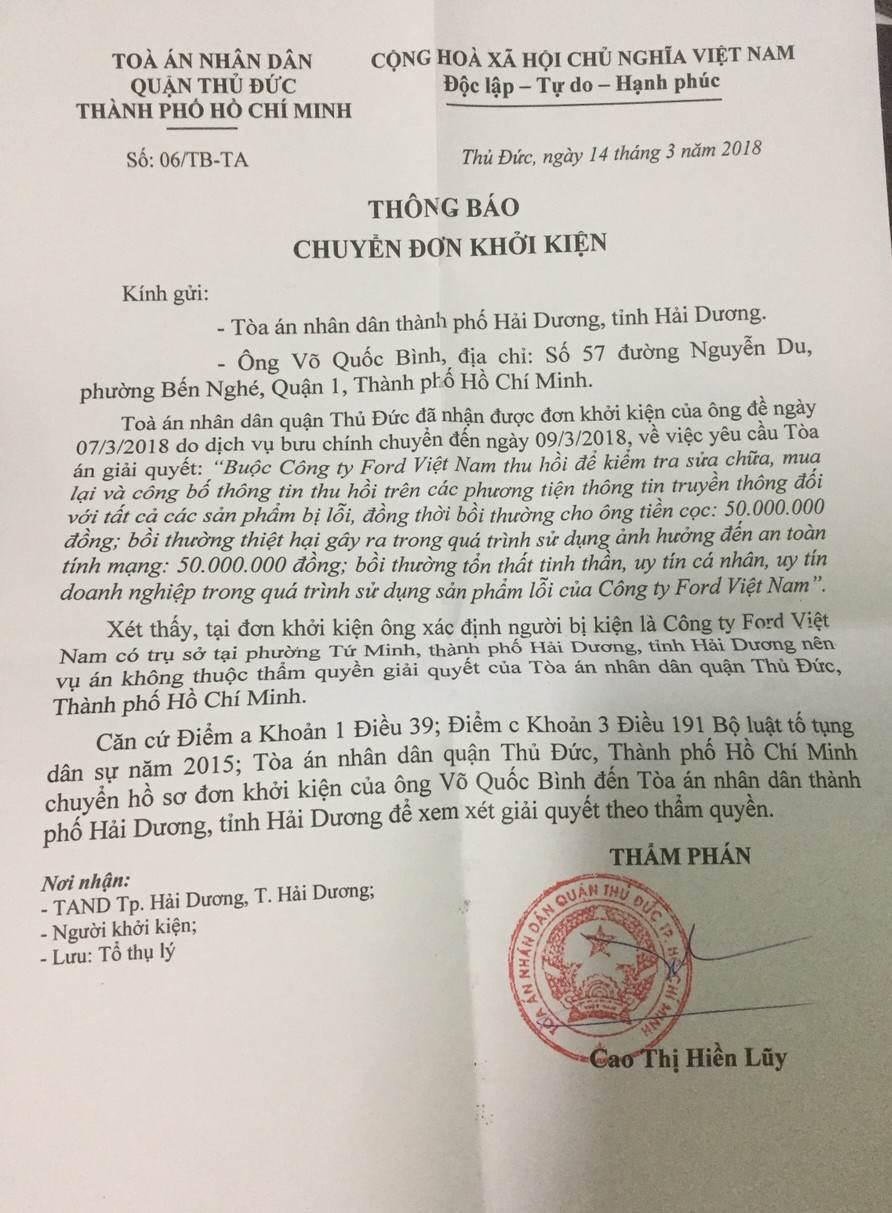 Khach hang kien Ford Viet Nam vi loi hop so: Chuyen don den TAND TP.Hai Duong hinh anh 1