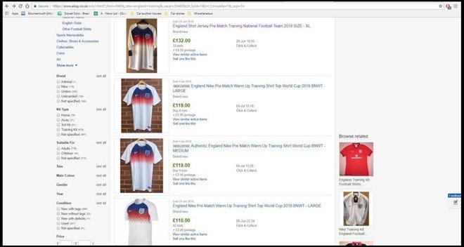 Ao cua tuyen Anh 'chay hang', rao ban tren eBay gia gap 3 hinh anh 2