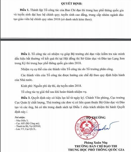 Bo GD-DT lap to kiem tra bat thuong ve diem thi tai Son La, Lang Son hinh anh 2