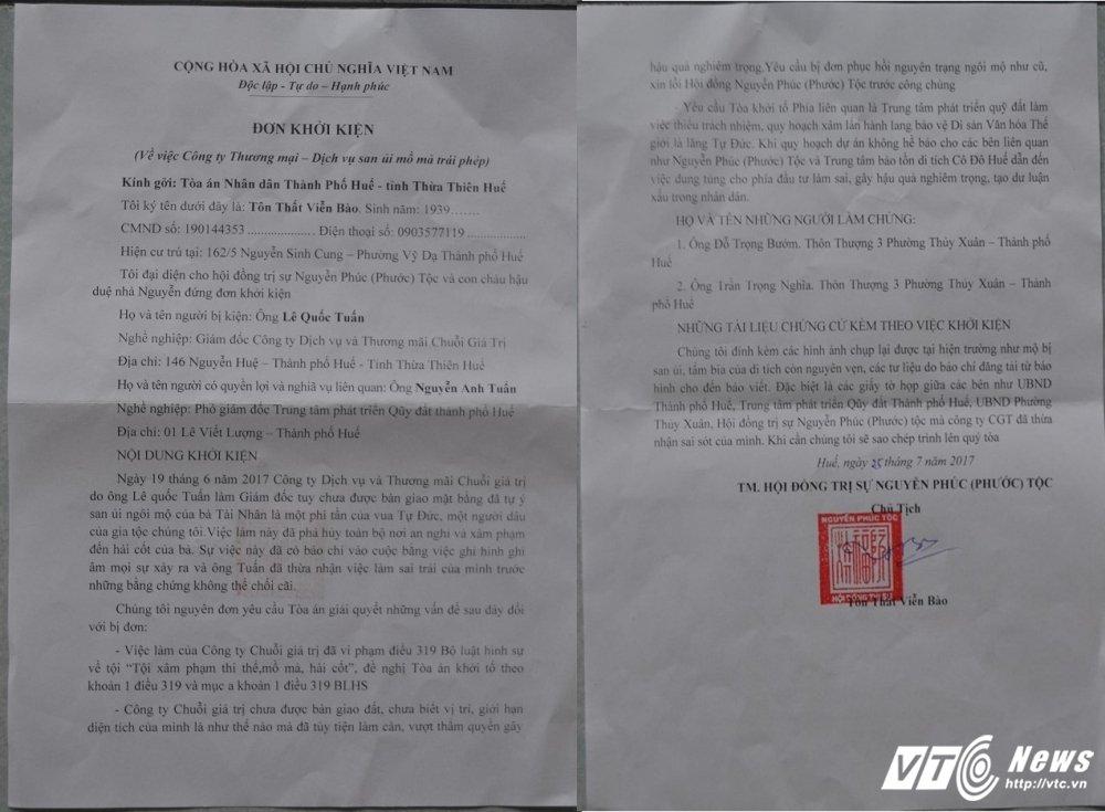 San phang mo vo vua Tu Duc lam bai dau xe: Nguyen Phuoc toc chinh thuc khoi kien hinh anh 1