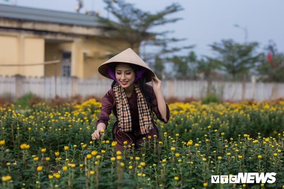 Anh: Ngam nu sinh xu Hue dep mo mang ben hoa cuc Tet hinh anh 4