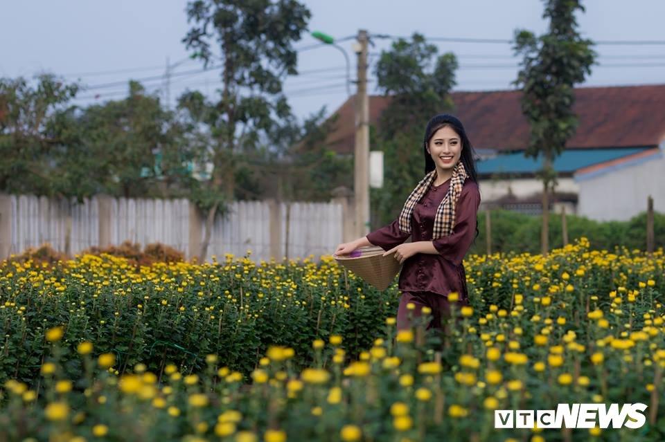 Anh: Ngam nu sinh xu Hue dep mo mang ben hoa cuc Tet hinh anh 5