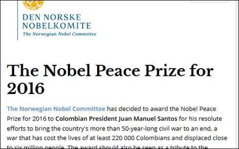 Ly do Tong thong Colombia doat giai Nobel Hoa binh 2016 hinh anh 1